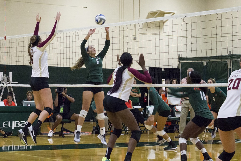 Canes volleyball falls to FSU in five sets