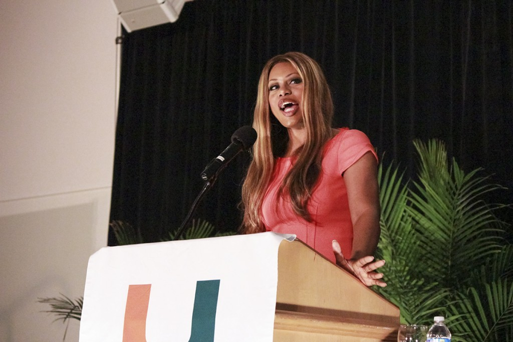 "Laverne Cox, who stars in the Netflix original series ""Orange is the New Black,"" speaks about her experiences as transgender woman on Thursday night in the SAC Ballrooms. Hallee Meltzer // Assistant Photo Editor"