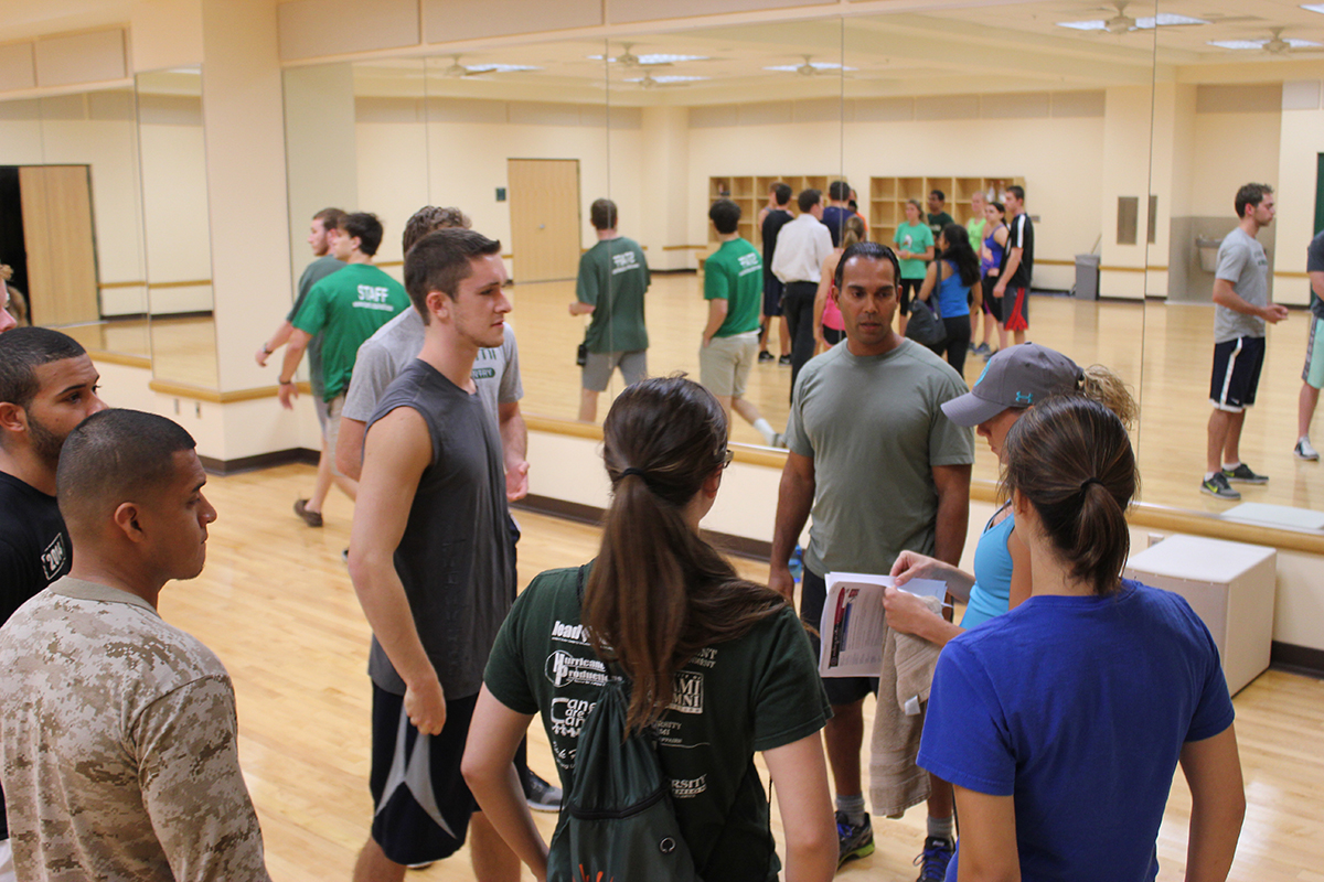 During Toppel's Workout with the FBI at the Wellness Center on Monday, students completed a sports circuit course, lifted weights and jogged with FBI special agents.