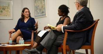 Journalist Ilene Prusher speaks with journalism professors Tsitsi Wakhisi and Joseph Treaster. // Courtesy UM Media