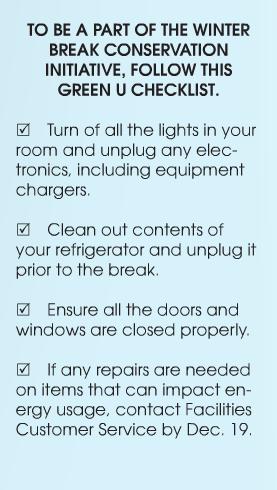 Winter break checklist encourages campus energy conservation