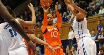 Michelle Woods shoots over a defender during Sunday afternoon's 68-53 loss to Duke