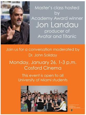 Producer of 'Avatar,' 'Titanic' to speak at Cosford Monday