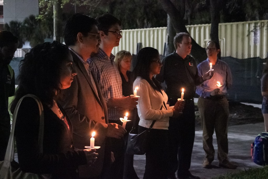 Members of the UM community gathered outside of Stanford Residential College on Monday night and held a candlelight vigil in remembrance of Frederik Westerberg. Giancarlo Falconi // Staff Photographer