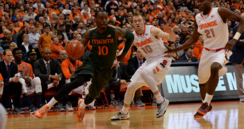 Sheldon McClellan, pictured here in a game against Syracuse earlier this season, led the Canes in their win against BC with 24 points. // Courtesy HurricaneSports