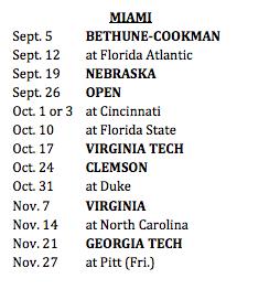 ACC schedule