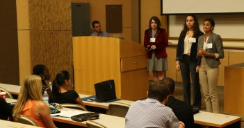 A group of students present their proposal during the Ebola Epidemic Simulation at the 2015 UAID Symposium. Each group represented a specific health stakeholder, such as the local West African government or the Department of Homeland Security and debated for or against the return of an infected patient to the U.S. Photo Credit // Sophie Barros