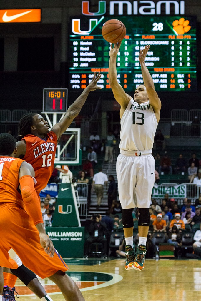 Redshirt Junior Angel Rodriguez attempts a jump shot during Sunday's game against Clemson. The Hurricanes won 56-45. Victoria McKaba // Staff Photographer