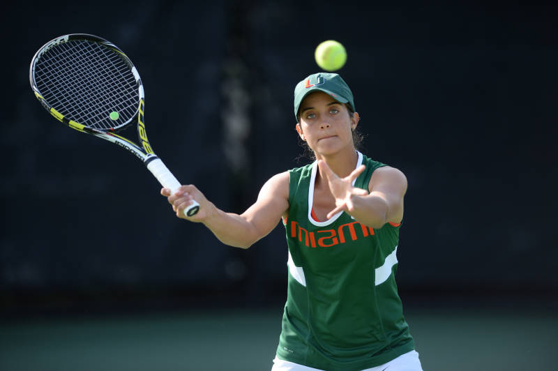 Tennis player Clementina Riobueno aces performance on court