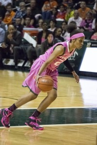 At Sunday's game against Georgia Tech, Sophomore guard Adrienne Motley and the Women's Basketball team wear pink as part of the Play 4Kay game that supports breast cancer awareness. Nagashreya Chidarala // Contributing Photographer