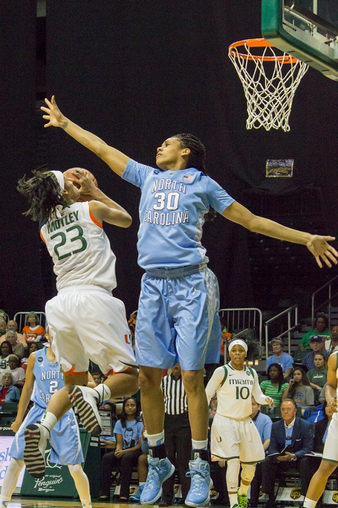Sophomore Adrienne Motley goes for jump shot during Sunday's game against UNC. Giancarlo Falconi // Staff Photographer
