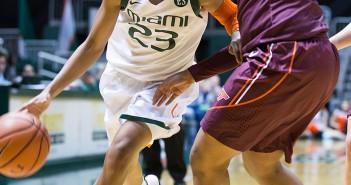 Sophomore Adrienne Motley (No. 23) leads Miami in scoring. Matthew Trabold // Staff Photographer