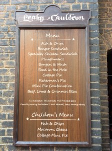 The Leaky Cauldron Menu