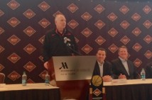 Jim Larrañaga chats at the NIT Final Four Media Day in New York City