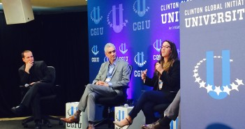 PeacePlayers International's project manager, Heni Bizawi, speaks to students at CGI U. Lyssa Goldberg // Online Editor