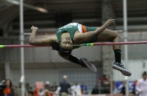 Junior Dakota Harris completes the high jump.