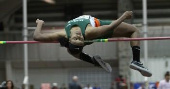 Junior Dakota Harris completes the high jump.