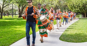 "XXXX leads current and newly inducted members through campus Thursday to ""tap in"" other members of the UM community. Nick Gangemi // Photo Editor"