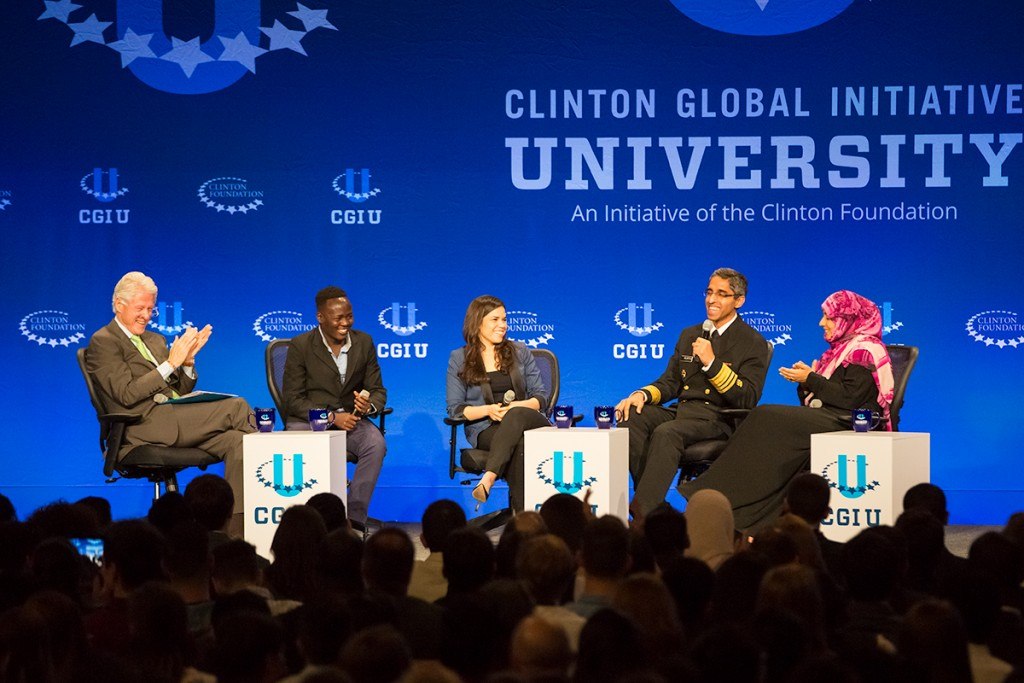 Clinton, notable speakers welcome students at plenary session