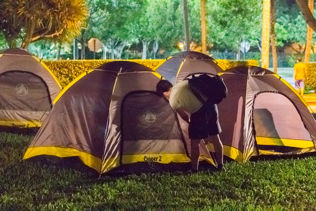 Students camped out Friday night on the Larrañaga Lawn in preparation for the final men's basketball team's home game. Victoria McKaba // Staff Photographer