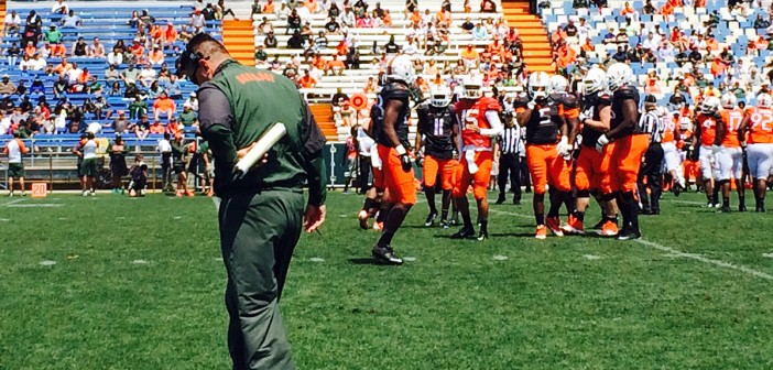Offense faces defense in Canes football scrimmage