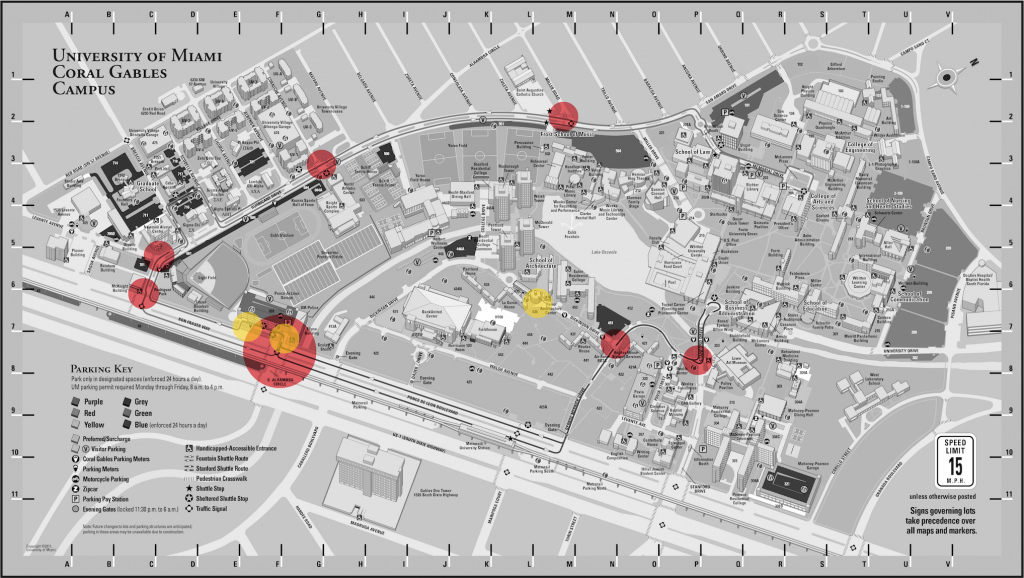 The red circles indicate crime hot spots as pointed out by crime prevention at UMPD. The yellow circles are accident hot spots as described during UMPD interviews. Map photo courtesy UM.