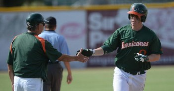 Sophomore Zack Collins rounds the bases. He had the winning run in Saturday's game. Photo courtesy hurricanesports.com.
