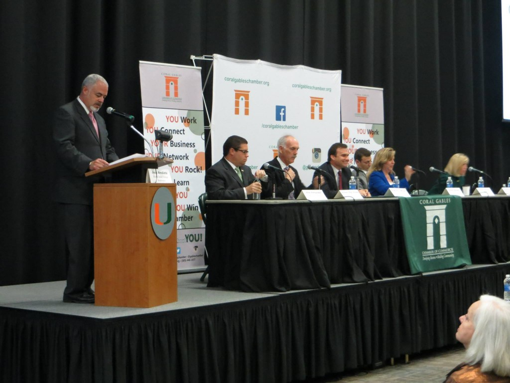 The 2015 candidates came together for a public forum at the University of Miami's Fieldhouse Tuesday. // Photo via Coral Gables Chamber of Commerce Facebook page.