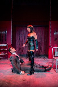 "Niki Fridh as Mistress Carol and Nicholas Richberg as Harry in Zoetic Stage's production of ""Trust."" // Photo Courtesy Justin Namon"