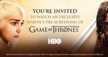 Game of Thrones pre-screen invitation
