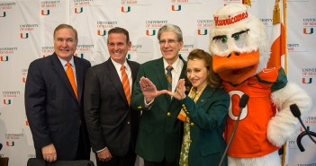 "University of Miami President Elect Dr. Julio Frenk throws up the ""U"" along with his wife, Felicia Knaul after a press conference where the UM Presidential Search Committee announced their decision. UM Board of Trustees Vice Chair Richard Fain and Chair Stuart Miller also attended Monday's event held at the SAC. Nick Gangemi // Photo Editor"