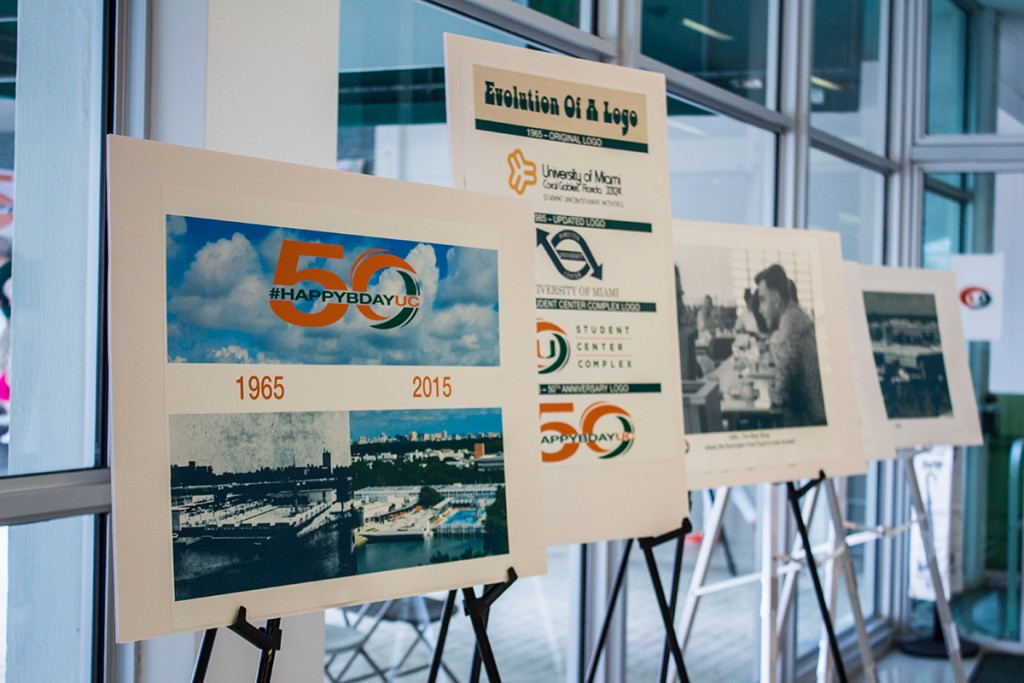 Posters portrayed the Whitten University Center's evolution since its founding in 1965 during the complex's 50th birthday party Wednesday. Shreya Chidarala // Staff Photographer