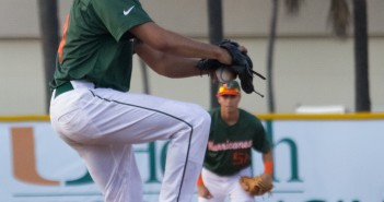 Danny Garcia (No. 14) pitches in the game against FAU on Wednesday evening. The Canes won 4-3. Victoria McKaba // Staff Photographer