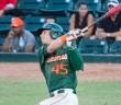 Hurricanes left fielder Carl Chester bats against UCF Wednesday night at Mark Light Field // The Miami Hurricane