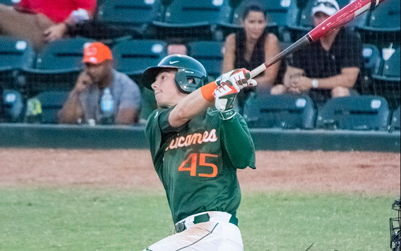 Hurricanes left fielder Carl Chester bats against UCF Wednesday night at Mark Light Field // The Miami Hurricane