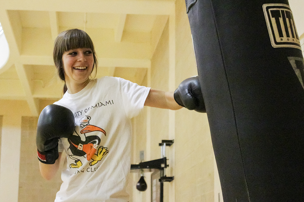 Boxing club president Teresa Browning  poses for a portrait in the Wellness Center. Hallee Meltzer // Assistant Photo Editor