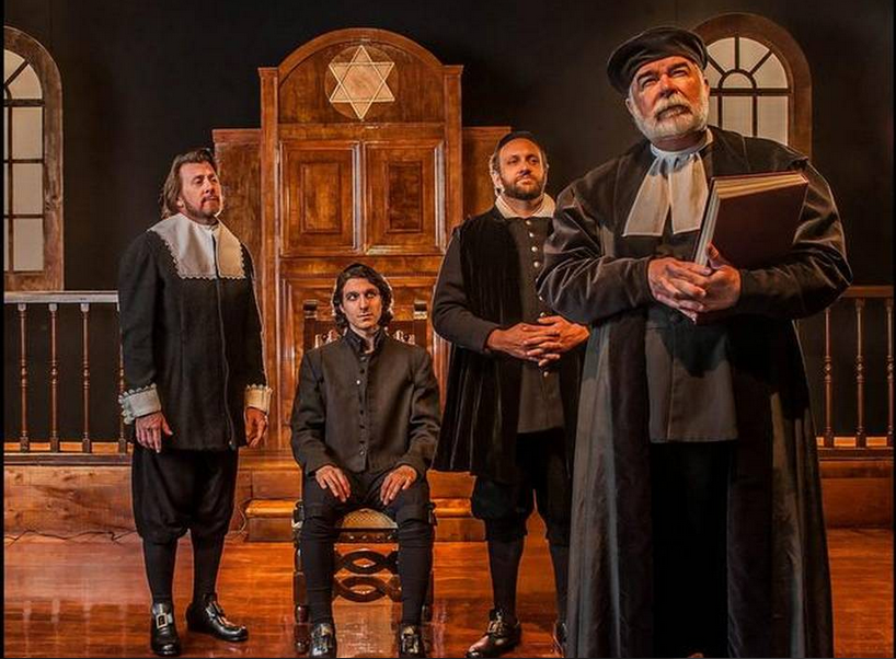 "Stephen G. Anthony, Abdiel Vivancos, Gregg Weiner and Larry Bramble perform in GableStage's ""New Jerusalem."" // Photo Courtesy George Schiavone"