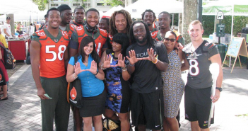 Miami football players partnered with Be the Match in their annual bone marrow drive // Courtesy Miami Football