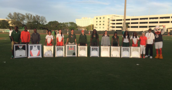 Miami's seniors were honored at the end of this weekend's Hurricane Alumni Invitational // Courtesy Miami Athletics