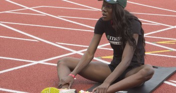 CORAL GABLES, FL (1 of 3) - FEBRUARY 17, 2015: Sophomore Shakima Wimbley warms up for track practice at Cobb Stadium. Wimbley is the ACC Women's Indoor 400M record holder. She is from Fort Lauderdale, FL. Elena Tayem // Contributing Photographer
