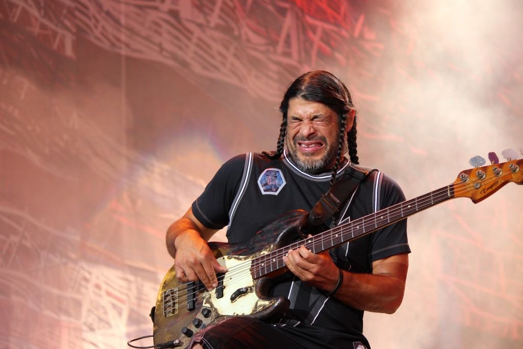 Metallica bassist Robert Trujillo plays to the crowd during the group's headliner set at Lollapalooza Saturday. Lollapalooza's second day came in full swing with performances by Walk The Moon, Tame Impala, Kid Cudi, Metallica and Sam Smith. Hallee Meltzer // Photo Editor