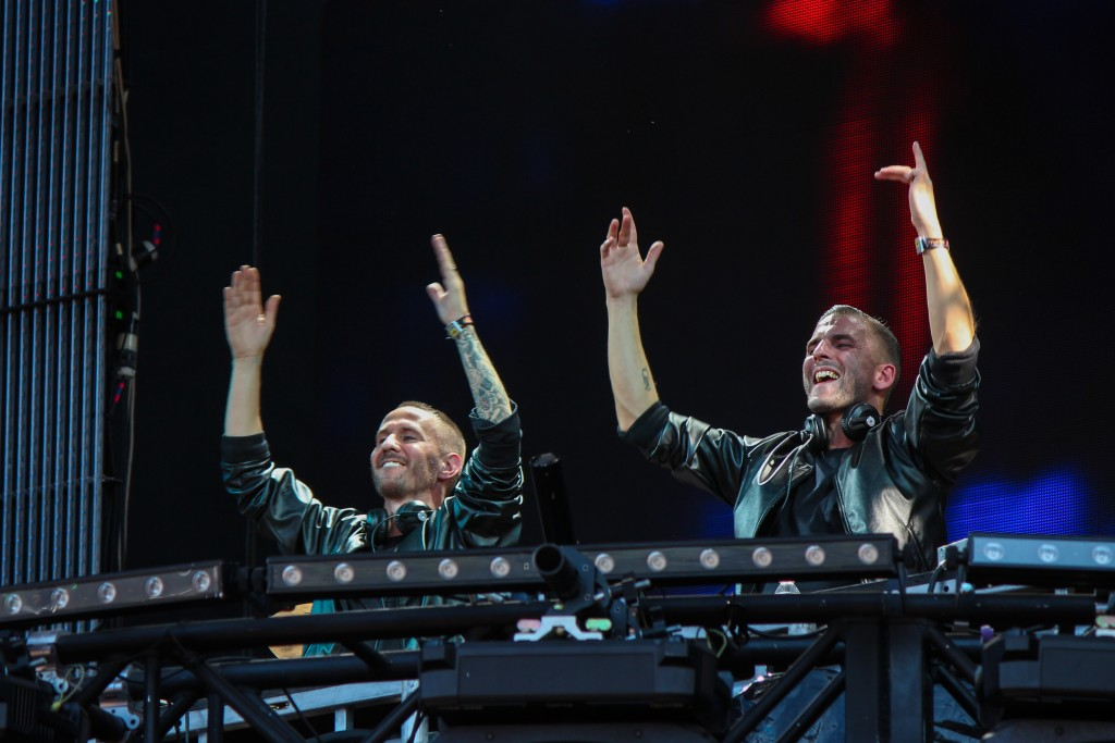 """Are you ready to runaway with us?"" questioned Christian Karlsson of Galantis to the crowd at Perry's Stage on Sunday. Galantis was one of the first acts to perform after Lollapalooza was suspended Sunday afternoon due to approaching severe weather. Hallee Meltzer // Photo Editor"