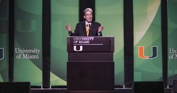President Julio Frenk addresses the new student body during his Welcome speech Wednesday evening. Hallee Meltzer // Photo Editor