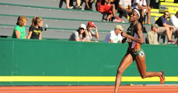 Junior track star Shakima Wimbley races past the competition. Courtesy HurricaneSports.com