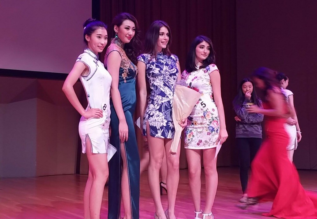(From left to right) Third place Wang Zi Wen, Miss Universe China 2014 Hu Yan Liang, first place Carmen Wilson and second place Shakira Molet pose together after the competition. Marcus Lim // Contributing Photographer