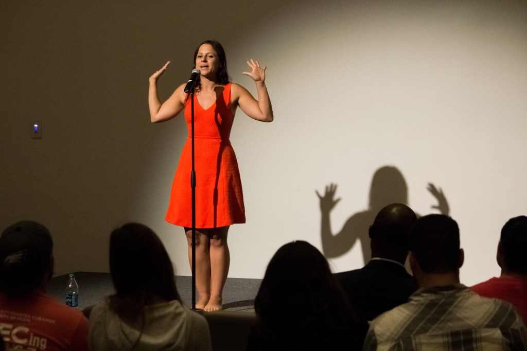 As part of Hispanic Heritage Month, Gabriela Garcia Medina performs her spoken word poetry for students. Kawan Amelung // Contributing Photographer