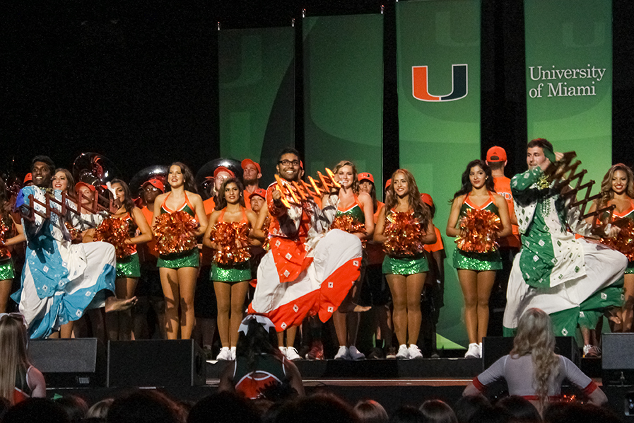During 'Cane Kickoff at this year's orientation, Hurricane Bhangra performs. Hurricane Bhangra has been a dance team at UM since 2003. Hallee Meltzer // Photo Editor