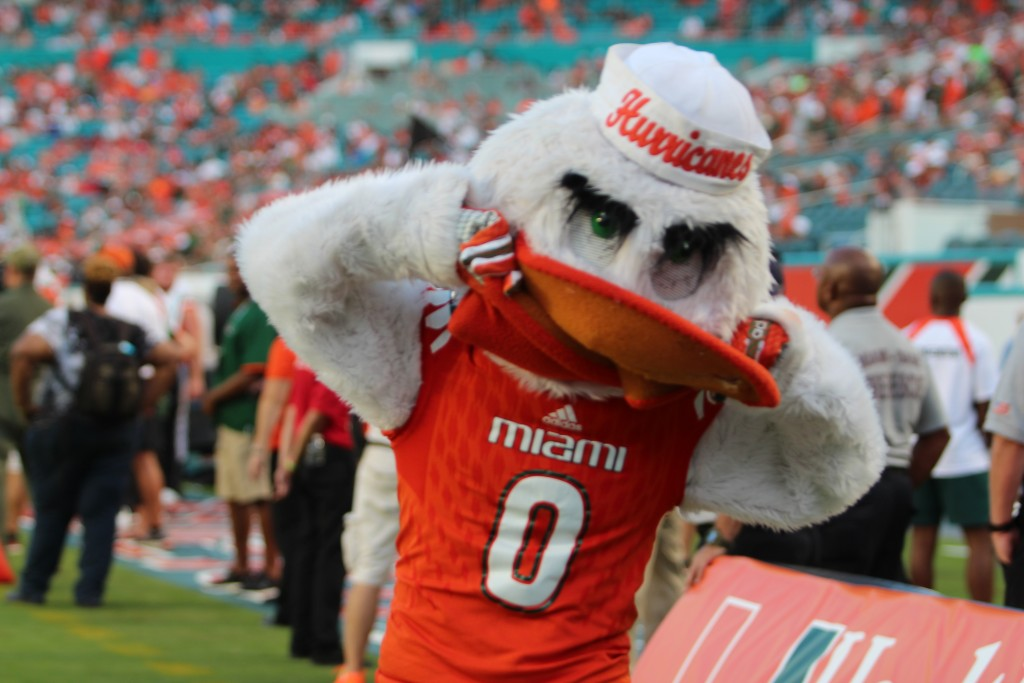 Sebastian puts on his game face while cheering on the Canes. Joshua Gruber // Contributing Photographer