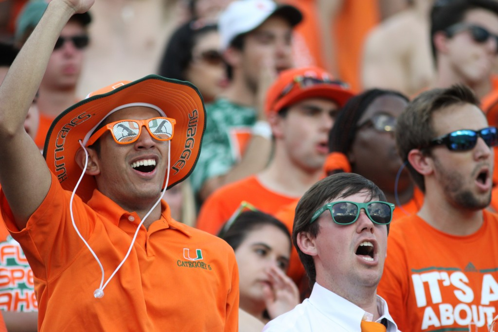 UM students cheer on the Canes during Saturday's game. Hallee Meltzer // Photo Editor