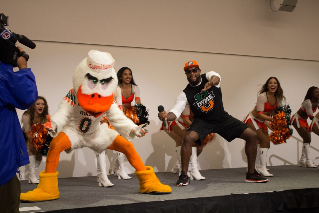 The Pep Rally for the UM vs Nebraska game opens up with a Canes Spell-out from the UM cheerleaders and a guest speaker, former football player DJ Williams. Kawan Amelung // Contributing Photographer